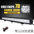 Oslamp 7D 34 360W CREE Chips LED Light Bar Offroad Combo Beam Led Work Light Bar