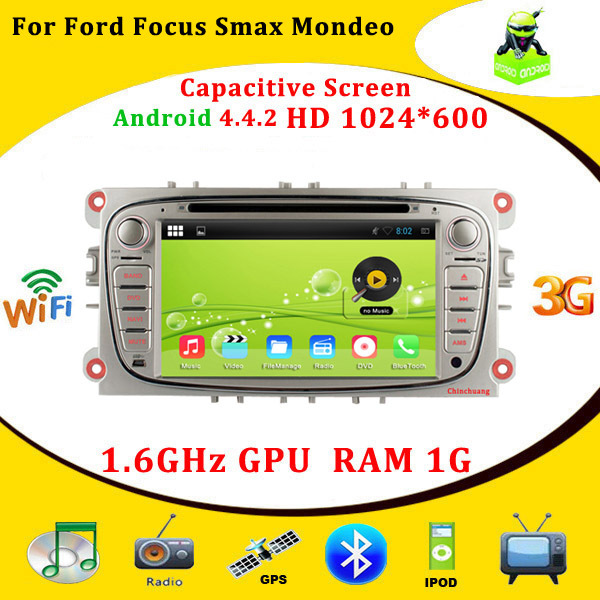 7 Inch Android 4.4 Capacitive Screen Car DVD for Ford Focus Mondeo S-max smax Kuga with GPS Navigation,HD 1024*600,Radio,Canbus(China (Mainland))