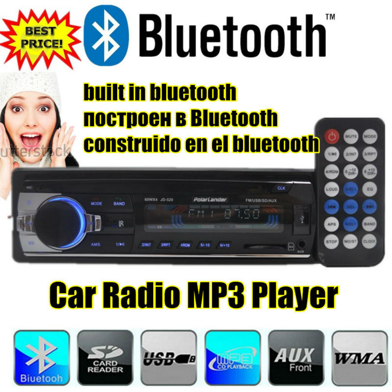 2015 NEW style 12V Car bluetooth Radio MP3 car audio Bluetooth w/USB SD card MMC Port Car stereo radios In-Dash handfree call(China (Mainland))