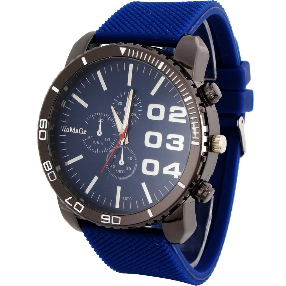 2016 Big Dial Clock Casual Stylish simplicity Quartz Men's Watch Military Sport Wristwatch Dropship Army Green Silicone - zhongqi yi's store