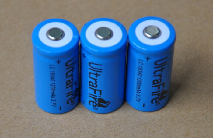 30%OFF 4pcs/lot 1200mah Ultrafire 3.7V 16340 Li-ion battery 123A rechargeable lithium ion batteries for laser pointer pen torch(China (Mainland))