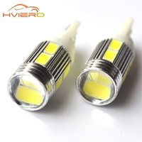 10Pcs T10 10SMD 5630 W5W Interior Xenon Red White blue DC 12V Car LED Lens Projector Solid Aluminum Bulbs Side Marker Light