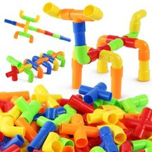 S00872 JingQ Plastic Pipeline Construction Blocks Assembling Toy for Baby Kids Educational Improve Intelligence + FP(China (Mainland))