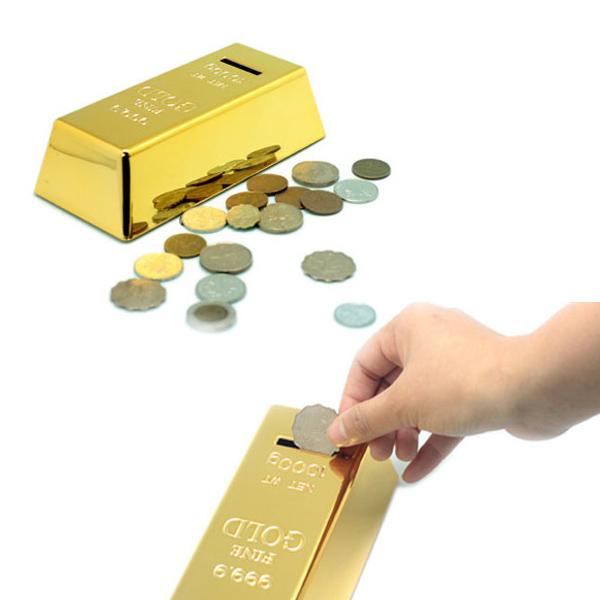 Novelty 999.9 Gold Bars Gold Bar Shaped Money Box Coin Bank Saving Pot (Golden)(China (Mainland))