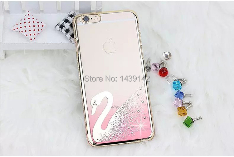 luxirious swarovsky artificial crystals diamonds transparent phone case for iphone 5/6/6plus(China (Mainland))