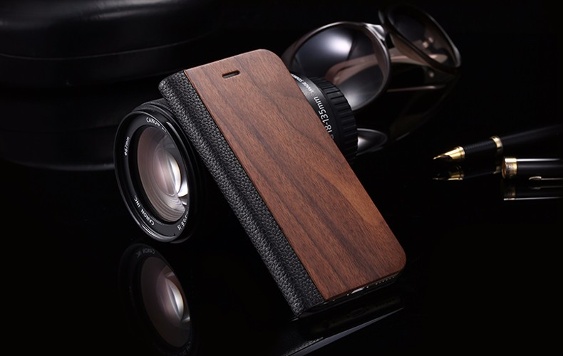 Vintage Genuine Bamboo Wood Flip Leathe Case For iPhone 6 6S Plus Real Rosewood Wooden Wallet Cover For iPhone 7 7 Plus Card Slot  (11)
