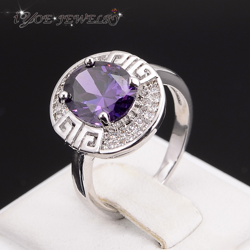 IYOE IYOE Trendy Imitation Diamond Jewelry Platinum Plated Amethyst Ring For Women Engagement
