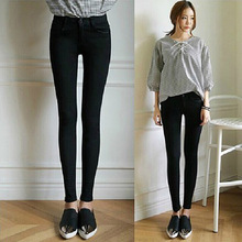 2016 new Spring and summer European style high waist pencil pants feet trousers women's fashion solid color skinny jeans