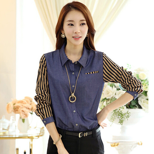 Denim Shirt Womens S-2X Plus Size Blusa Striped Chiffon Long Sleeve Patchwork Top Turn-Down Collar Cotton Blouse Blue - Ecostore store