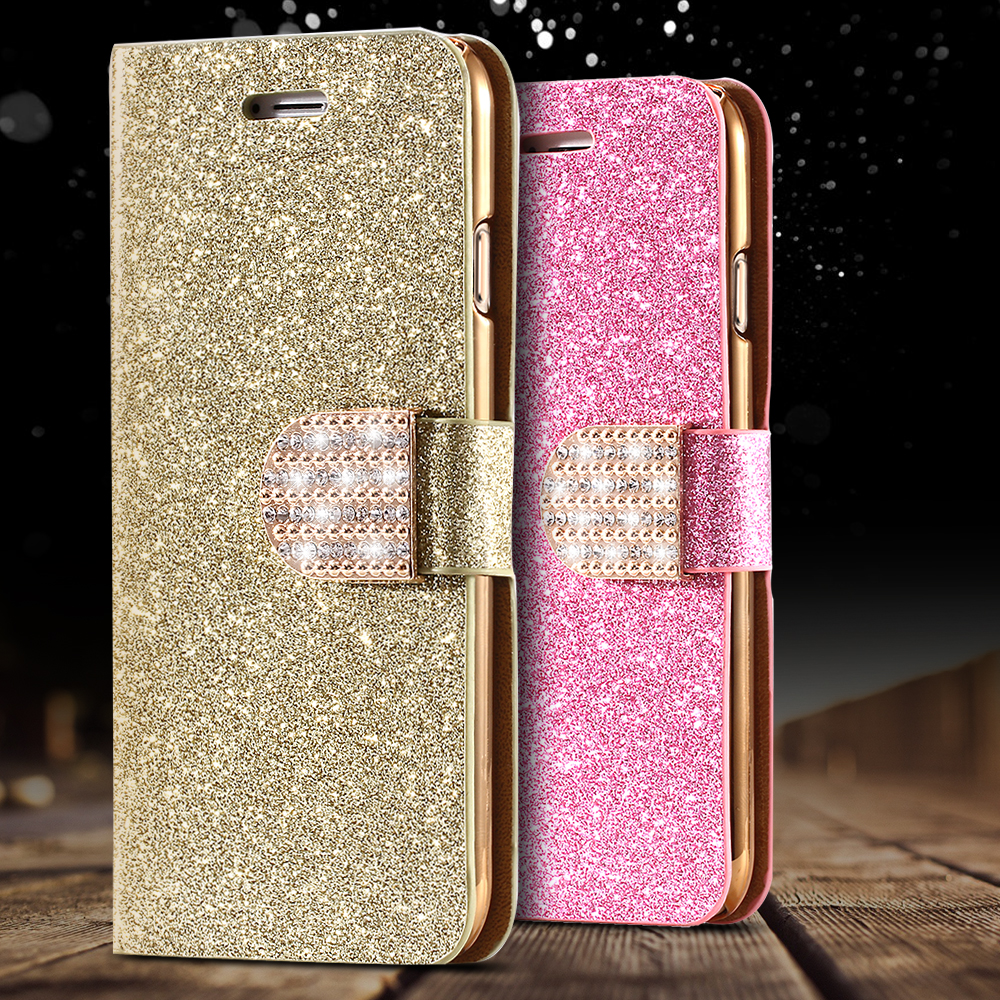 iPhone 5S Leather Case Gold Luxury Shiny Diamond Stand Flip 5 SE Wallet Card Slot Cover Bling Powder - Three-A Group Co.,Ltd store