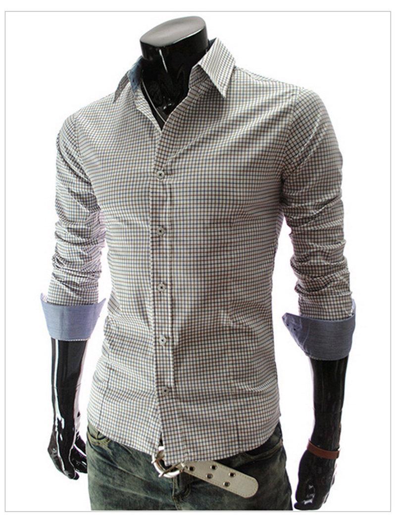 2014 new men shirt fashion mens brand classic plaid