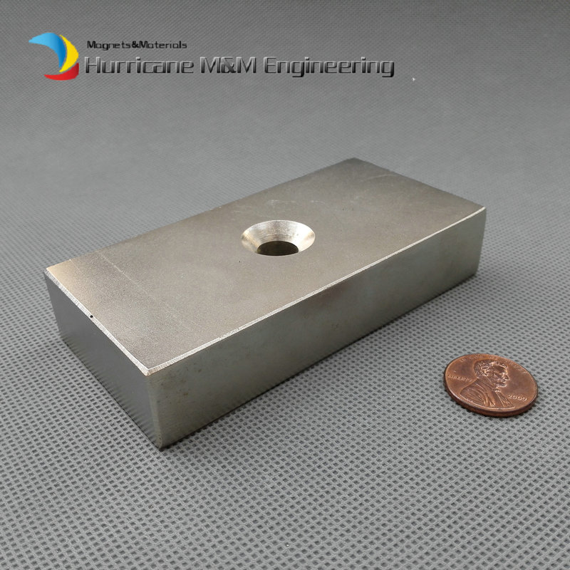 NdFeB Lifting Magnet 100 x 50 x 20mm about 4 with Screw Countersunk Hole Block N52 Strong Neodymium Rare Earth Magnet<br><br>Aliexpress