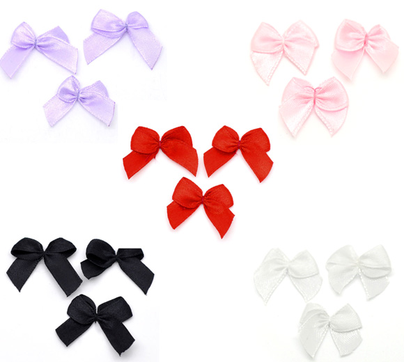 200PCs Ribbon Bow Wedding Party Decoration Scrapbooking Embellishment Sewing Accessories 25x20mm