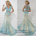 Modest Blue Lace 2 Piece Prom Dresses 2015 Mermaid Long Evening Gowns V Neck Custom Made