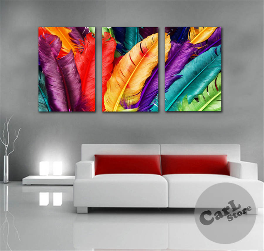3panels free shipping fresh look color feather modern wall for Fresh look painting