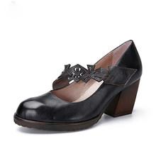2019 Vrouwen Hoge Hak Schoenen Handgemaakte Vintage Lederen Vrouwen Pompen Platform Enkelbandje Dikke Hakken Vrouwen Schoenen(China)