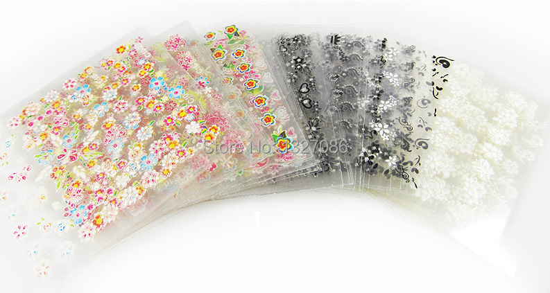 50 Sheets 3D Nail Art Stickers Tips Decal Fashion Flower Tip Decoration Sticks Nail Art Manicure Accessories(China (Mainland))