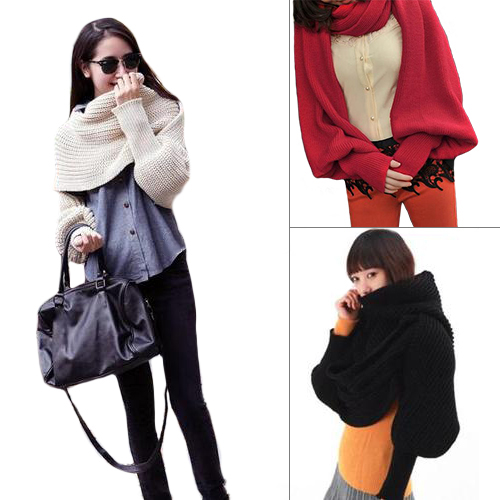 Hot  Women Solid Scarf With Sleeve Crochet Knit Long Soft Wrap Winter Shawl Scarves Retail/Wholesale  5C1R 7F9S