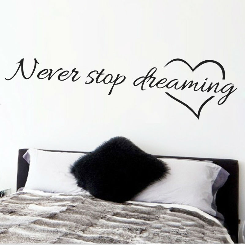 Dreaming Inspirational Quotes Wall Art Bedroom Decorative Stickers