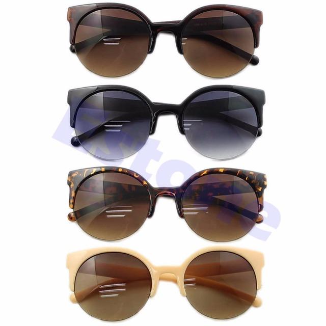 Мода Полуободковые Глаз Солнцезащитные Очки Ретро Супер Круглый Круг Cat Мужская Дизайнер