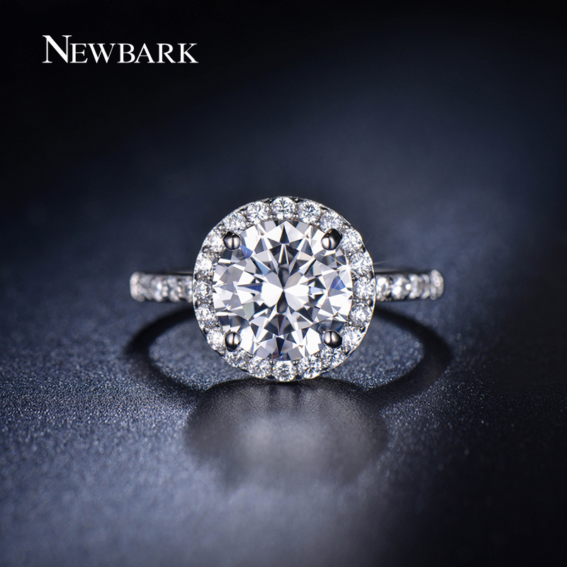 NEWBARK Classic Round CZ Diamond Small Simple Rings For Women Wedding Bands E