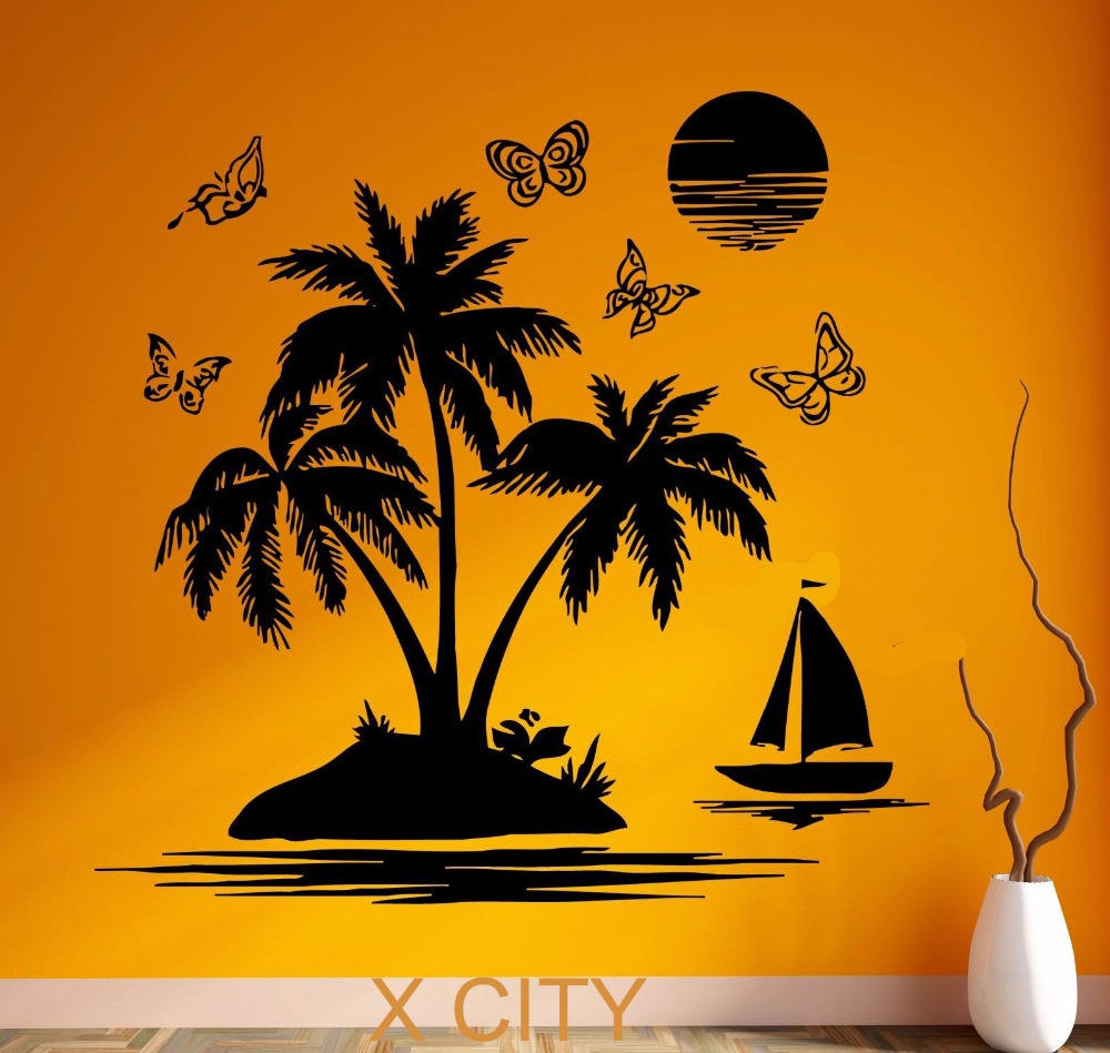 Tropical Scenery Palm Beach Island Black Wall Art Decal