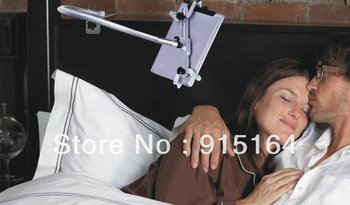Gooseneck all direction rotating metal tablet holder for iPad using for bed and desk and for car use, twoclamps inside