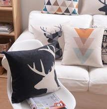 Free Shipping!!Fashion square geometric throw pillow/almofadas case 45x45 55x55 60x60,nordic black cushion cover home decore(China (Mainland))