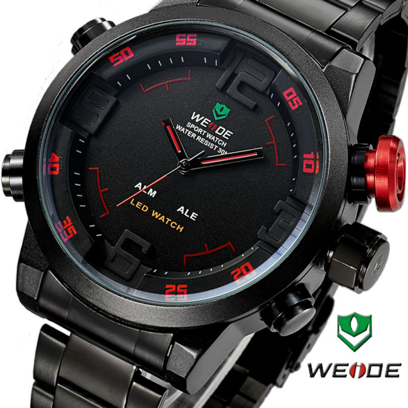 WEIDE Brand Men's Military Watches Men Luxury Full Steel Quartz Watch LED Display Sports Wristwatches 30M Water Resistant (Red)(China (Mainland))