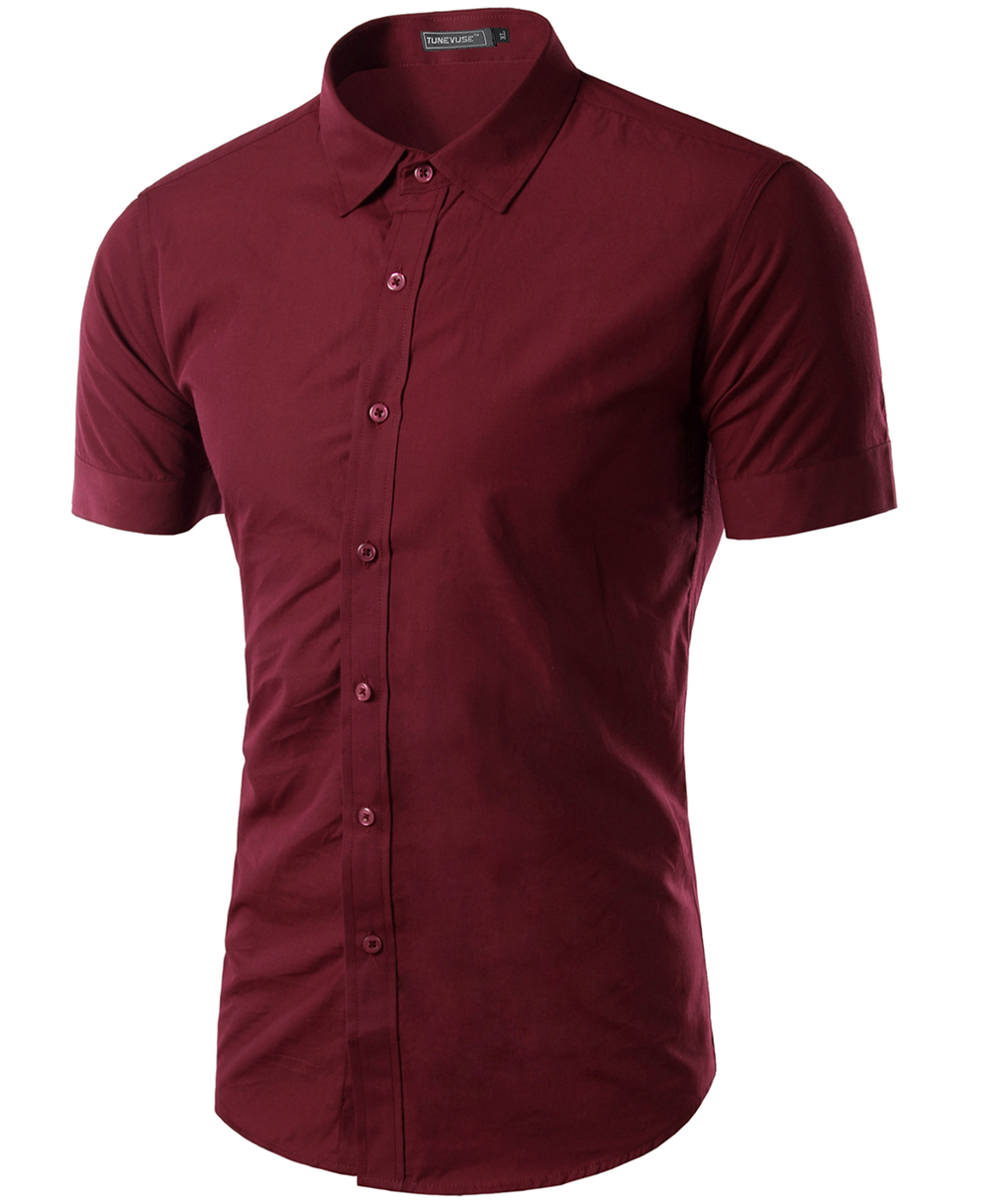 Free shipping 2015 mens slim fit unique neckline stylish for Mens short sleeve dress shirts