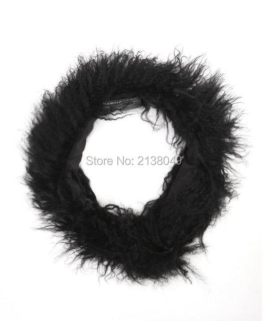 Fs013 80 * 12 см природного монгольский ягненок шарф натуральный мех мода женщин шарф кольцо
