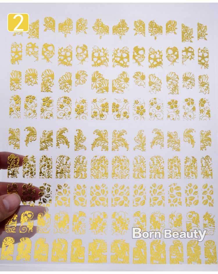 3d Gold Nail Stickers 108pcs/sheet Metallic Nail Art Decoration Tools Flower Designs Fashion Manicure Nail Decals(China (Mainland))