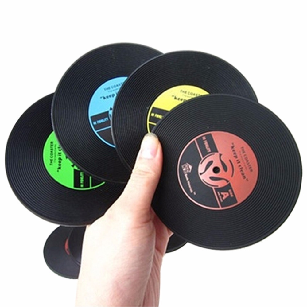 Useful Food Grade Plastic Vinyl Coaster Novelty Cup Cushion Drinks Holder Dining Decor Tableware Placement Mat 6 Styles(China (Mainland))