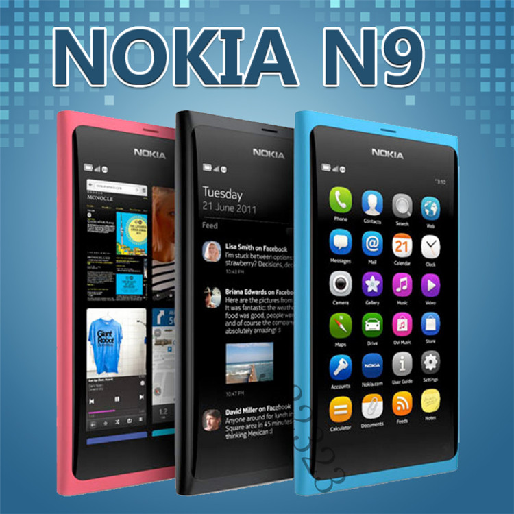 Original Nokia N9 Unlocked Mobile Phone WIFI GPS 8MP 3G WCDMA MeeGo OS 16GB 64GB ROM Refurbished Free Shipping(China (Mainland))