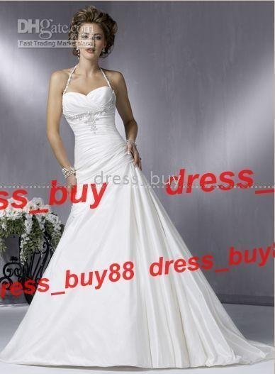 MG 008 New White/Ivory Beaded Maggie Halter Wedding Dresses Bridal Gowns A Line Zipper plicated SEXY