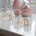 1 65M 10Leds Wooden House lattice String Light Indoor lantern garland house living room decorative String