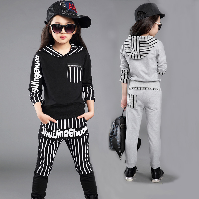 2015 New Autumn Winter Girls Clothes Long Sleeve Sport Hoody Striped Children Clothing Set Sweater 4-13 years Old Kids Clothes(China (Mainland))