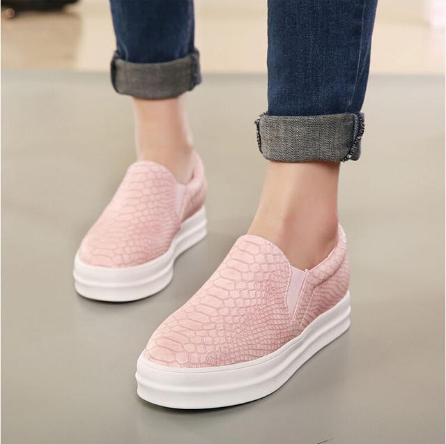 Новых мужчин бездельников свободного покроя квартиры каблуки круглый носок черный розовый бездельник обувь осень комфорт женская обувь