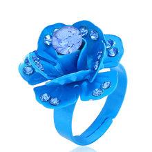 Chadestinty Romantis Perhiasan Kuning Biru Merah Hitam Berlian Buatan Kristal Bunga Cincin Wanita Dapat Disesuaikan Jari Lingkaran Bague Femme(China)