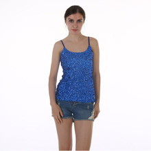 blue Color Tank Tops Summer Womens party vest Europe sequined Paillette tank top blusas y camisas mujer(China (Mainland))