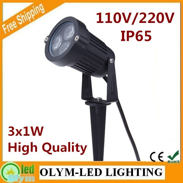 Wholesale Free Shipping 3 Year Warranty 3W IP65 LED Garden Lamp Spike Outdoor Lawn Lamp 110V/220V 50Pcs/Lot(China (Mainland))