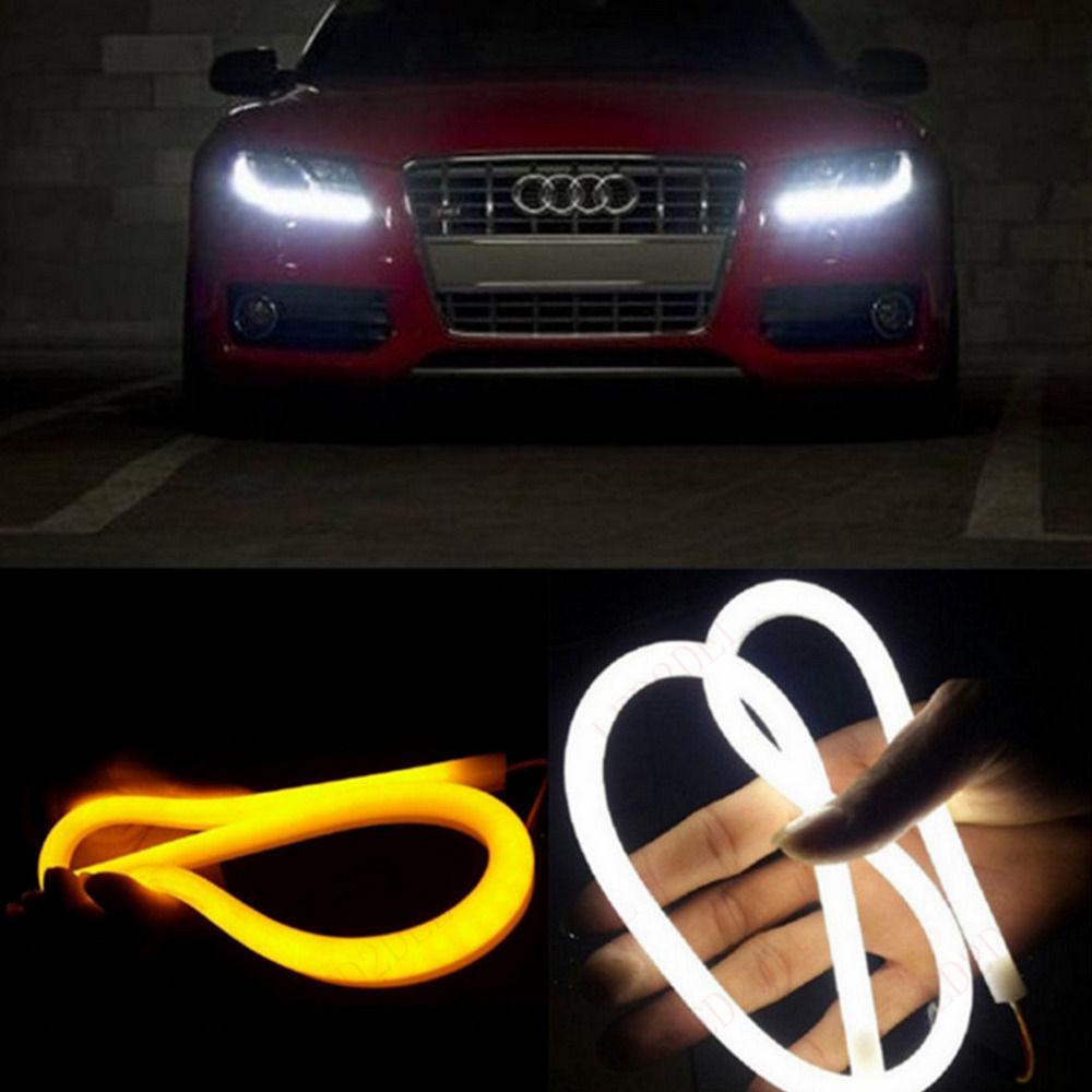 2x 85cm Flexible Tube Style Amber White Switchback Headlight LED Angel Eye Strip Drl Run light Car Turn Signal Lights(China (Mainland))