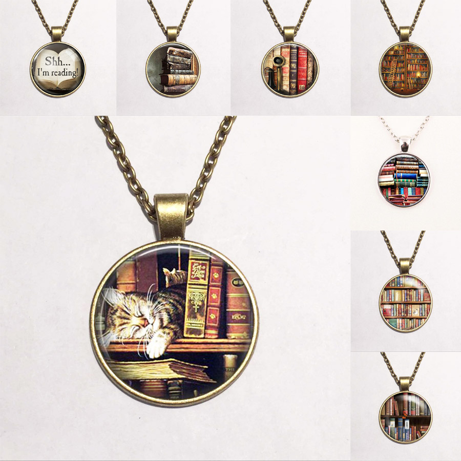 Library Book Case NecklaceVintage Style Gift for Students Teachers and Librarians Necklace ,Old books necklace(China (Mainland))