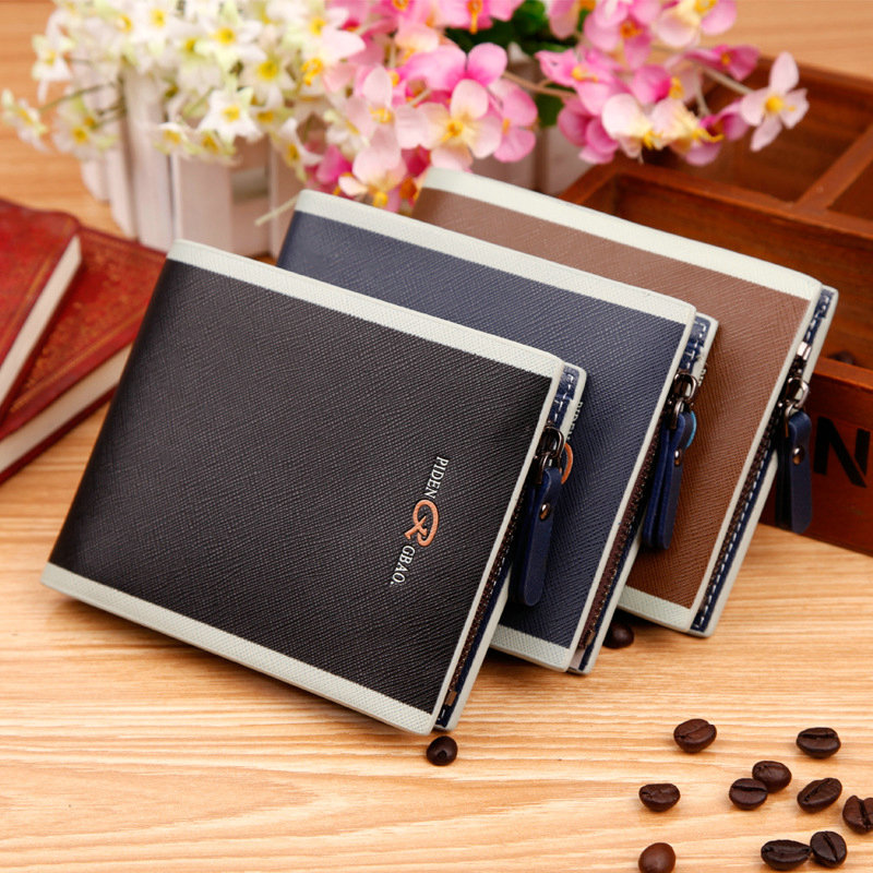 2015 Korean Short Men Wallet Coin Zipper Credit Card Holder PU Faux Leather Small Wallet Men Brand Male Purse For Money Cheap<br><br>Aliexpress