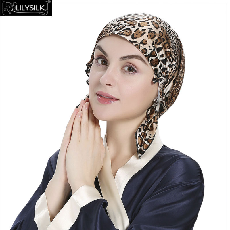 Lilysilk Skullies & Beanie Silk Pure Sleep Cap Turban Women 19 Momme Sexy Leopard Pattern Elastic Band Hair Care Night