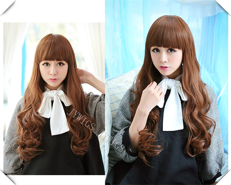 Synthetic Heat Reisistant Fiber Women Long Wavy Hair Full Wigs Lady Girl Cosplay Party 4Colors Halloween Gift(China (Mainland))