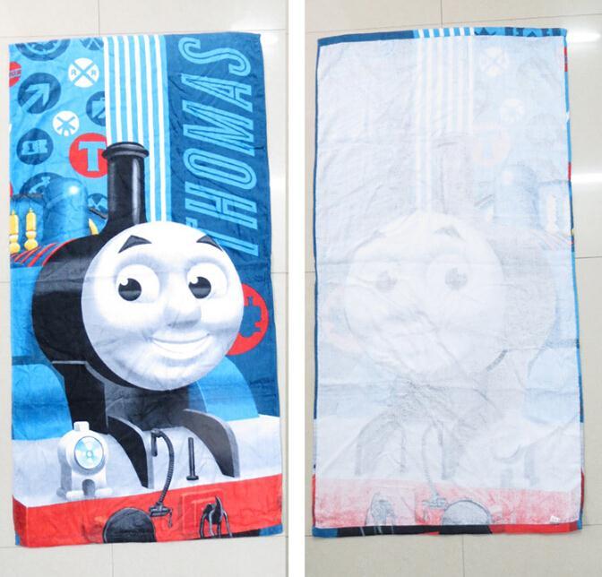Free Shipping New Blue Thomas Beach Bath Towel Cartoon Cotton Towels Bathroom Printed Toallas Playa de Banho For Children Boy(China (Mainland))