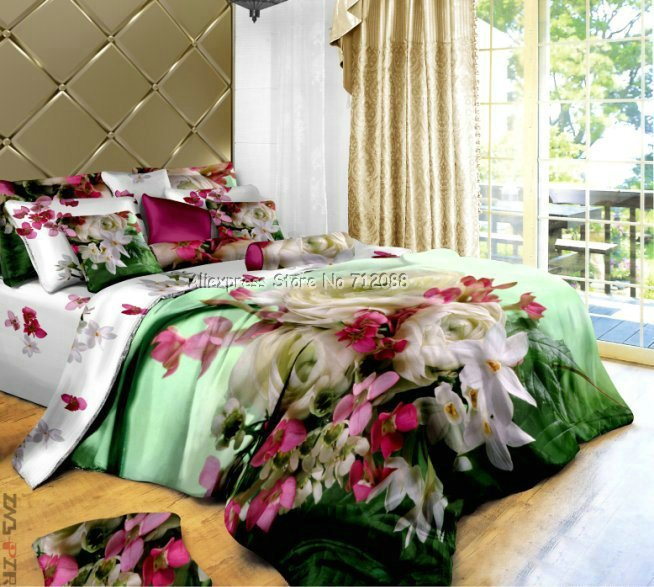 Wholesale,cotton white rose white/pink/red floral green duvet cover sets 4pcs Full/Queen comforter bedding sets 4pc bedlinen(China (Mainland))