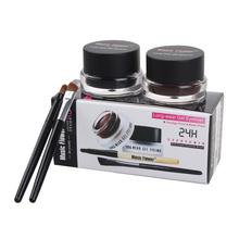 Hot 2 In 1 Waterproof Brown & Black Gel Eye Liner Set Kit Makeup Tools 24Hours Long Wear Gel Eyeliner With Brush 1007# 2pcs\lot(China (Mainland))