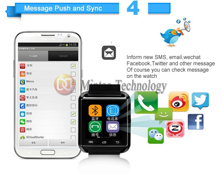 CHZ Bluetooth /u8 Reloj Inteligente